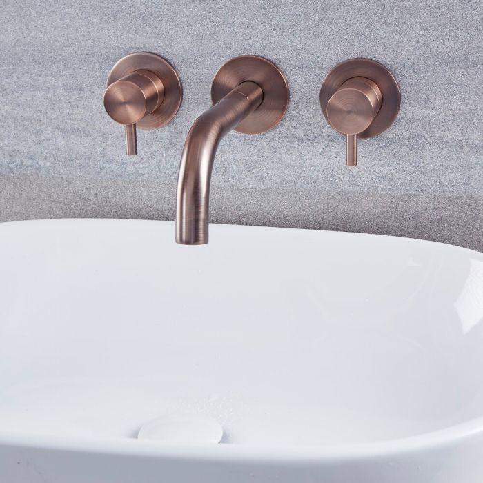 Unterputz-Waschtischarmatur mit Hebelgriffen, Wandmontage – geölte Bronze – Como