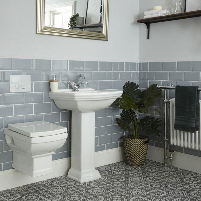 Nostalgie Set - Wand-WC mit Unterputzspülkasten & Säulenwaschtisch, 1- oder 2-Hahnloch - Sandringham