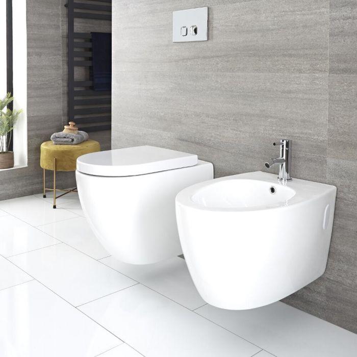 Randloses Hänge-WC und -Bidet Set Weiß Oval, inkl. Wandrahmen und Betätigungsplatte - Ashbury