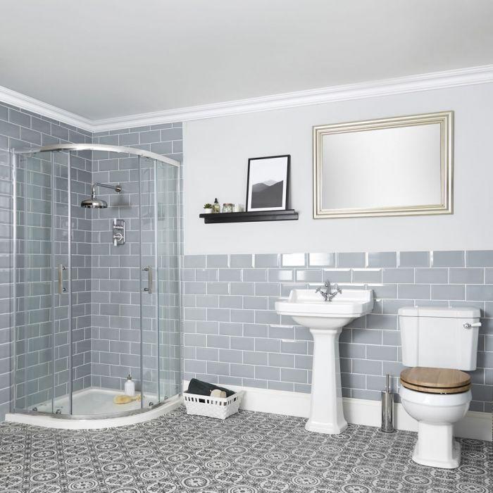 Badausstattung mit Viertelkreisdusche, WC und Säulenwaschbecken - Richmond