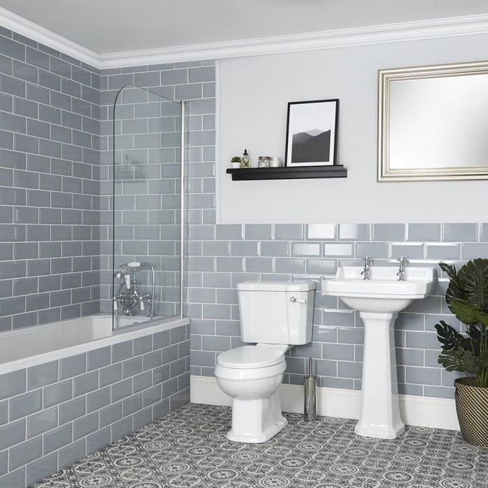 Badeausstattung mit Badewanne, WC und Säulenwaschbecken - Richmond