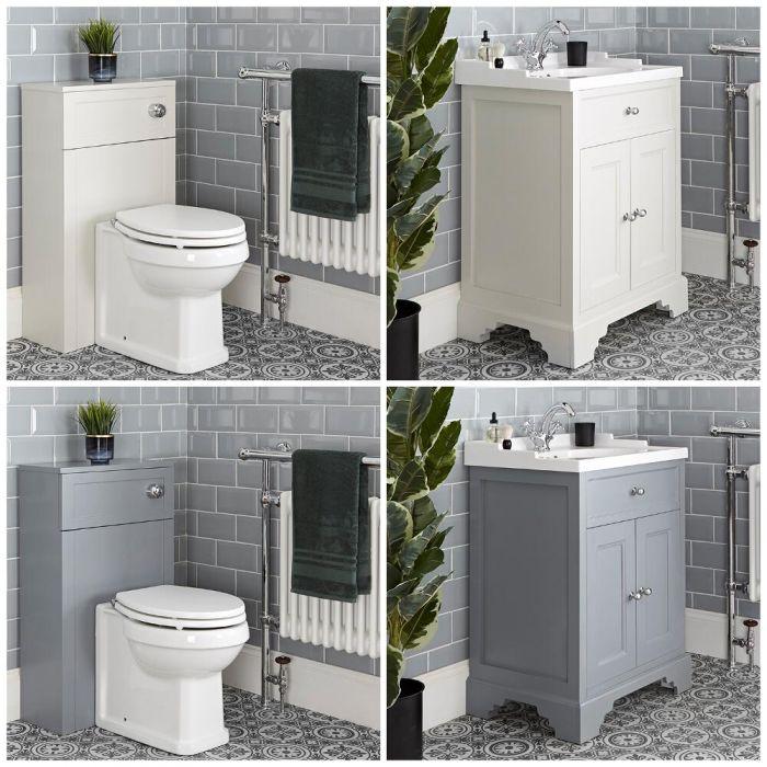 Traditionelles Set aus Waschtisch mit 630mm Unterschrank & WC mit verkleidetem Spülkasten - Thornton