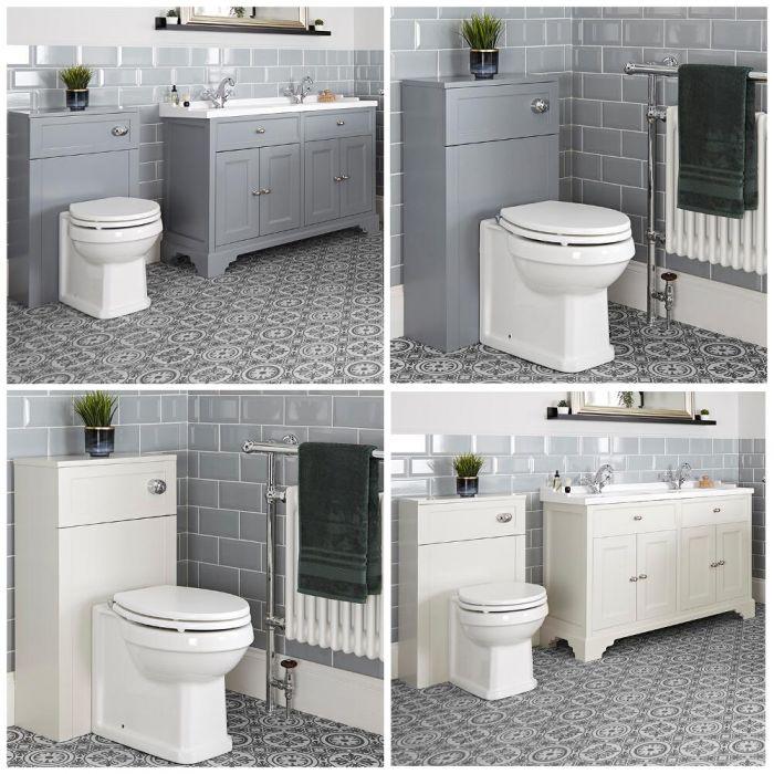 Traditionelles Set aus Doppel-Waschtisch mit 1200mm Unterschrank & WC mit verkleidetem Spülkasten - Thornton