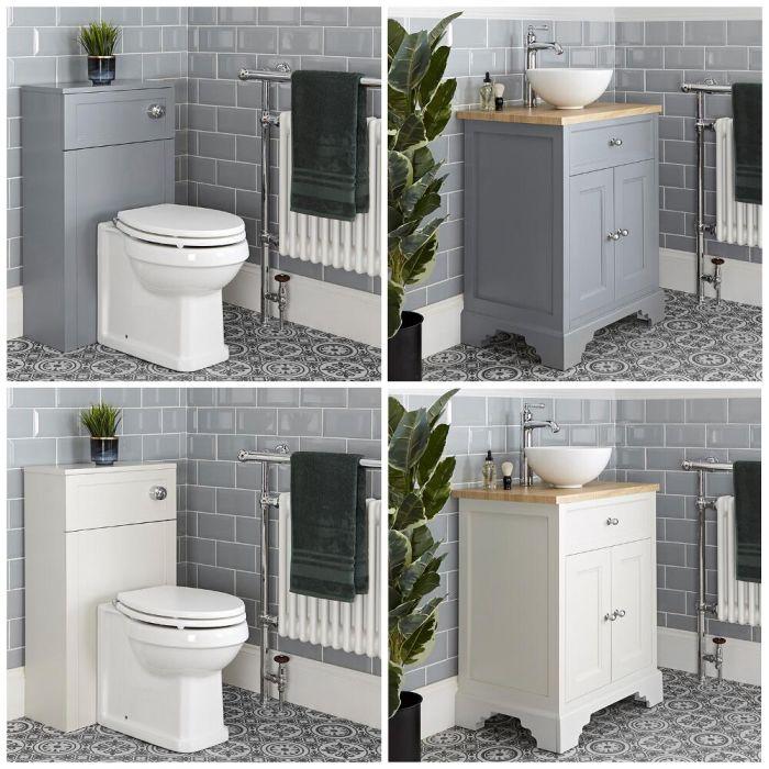 Traditionelles Set aus Aufsatzwaschbecken mit 645mm Unterschrank & WC mit verkleidetem Spülkasten - Thornton