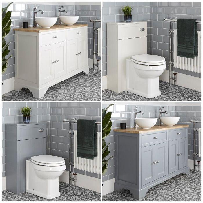 Traditionelles Set aus Aufsatzwaschbecken mit 1200mm Unterschrank & WC mit verkleidetem Spülkasten - Thornton