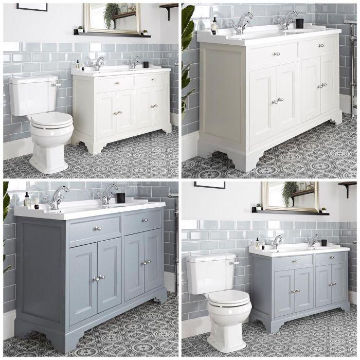 Traditionelles Set aus Doppel-Waschtisch mit 1200mm Unterschrank & WC mit aufgesetztem Spülkasten - Thornton