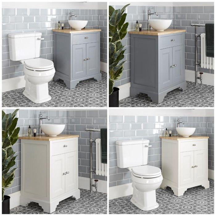 Traditionelles Set aus Aufsatzwaschbecken mit 645mm Unterschrank & WC mit aufgesetztem Spülkasten - Thornton