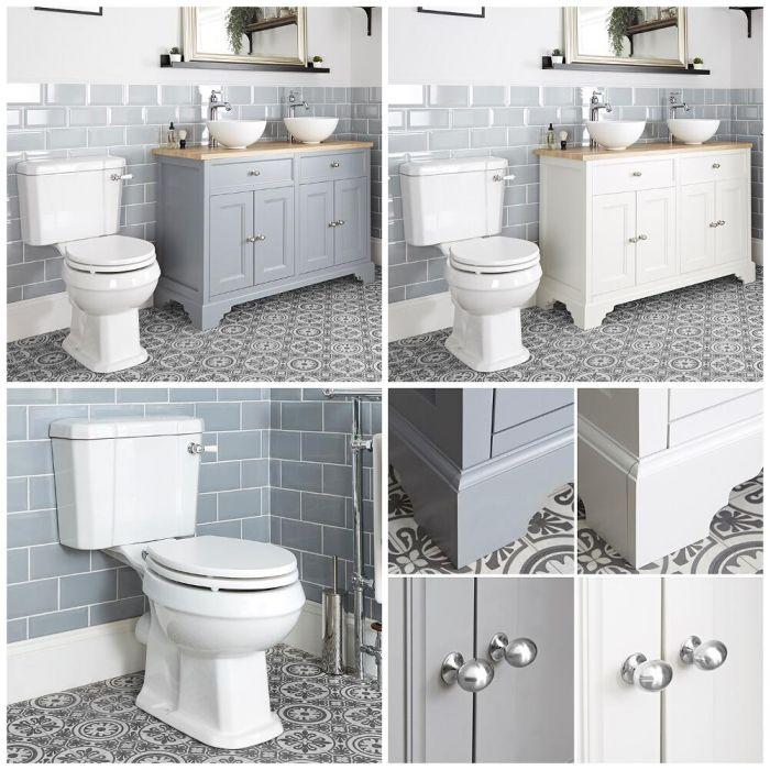 Traditionelles Set aus Doppel-Aufsatzwaschbecken mit 1200mm Unterschrank & WC mit aufgesetztem Spülkasten - Thornton