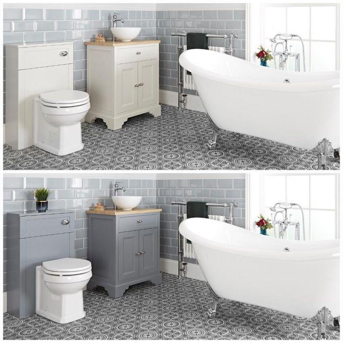 Traditionelles Bad Komplettset - mit freistehender Badewanne, WC mit verkleidetem Spülkasten, Aufsatz-Waschbecken mit Unterschrank (B 645mm) - Thornton