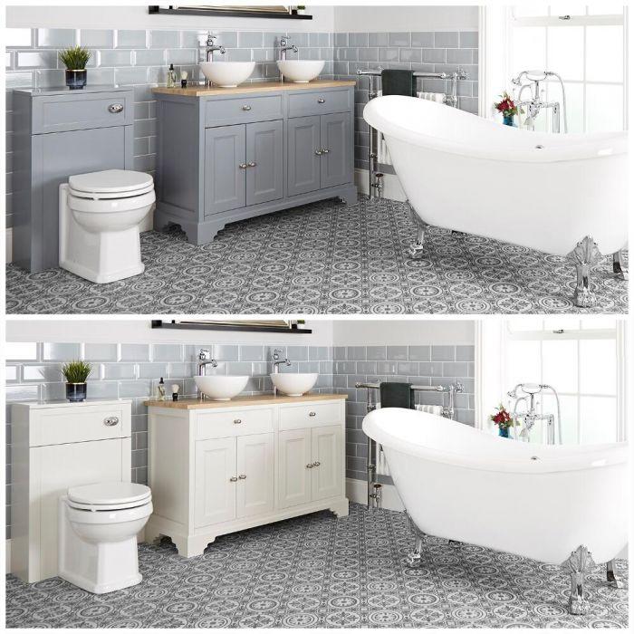 Badausstattung mit Badewanne, Doppel-Aufsatzwaschbecken mit 1200mm Unterschrank und Toilette mit verkleidetem Spülkasten - Thornton