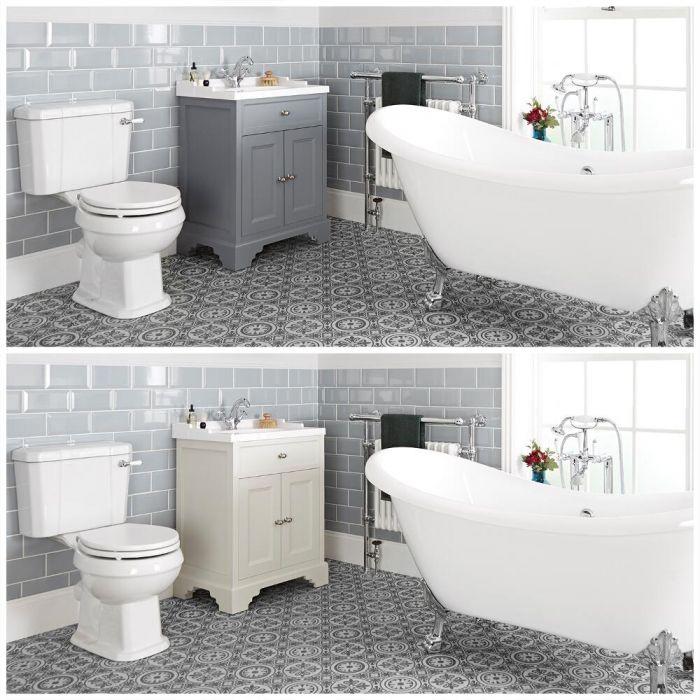 Badausstattung mit Badewanne, Waschtisch mit 630mm Unterschrank und Toilette mit aufgesetztem Spülkasten - Thornton