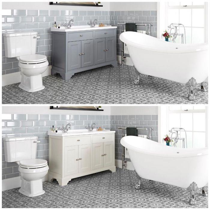 Traditionelles Bad Komplettset - mit freistehender Badewanne, Stand-WC, Doppel-Waschbecken mit Unterschrank (B 1200) - Thornton