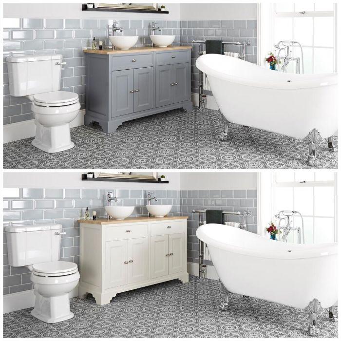 Traditionelles Bad Komplettset - mit freistehender Badewanne, Stand-WC, Doppel-Aufsatzwaschbecken mit Unterschrank (B 1200) - Thornton