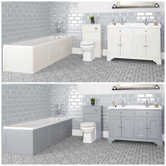 Badausstattung mit Badewanne, Waschtisch mit 1200mm Unterschrank und Toilette mit verkleidetem Spülkasten - Thornton