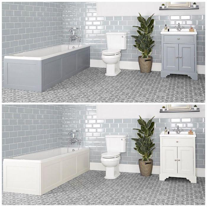 Badausstattung mit Einbau-Badewanne, Waschtisch mit 630mm Unterschrank und Toilette mit aufgesetztem Spülkasten - Thornton