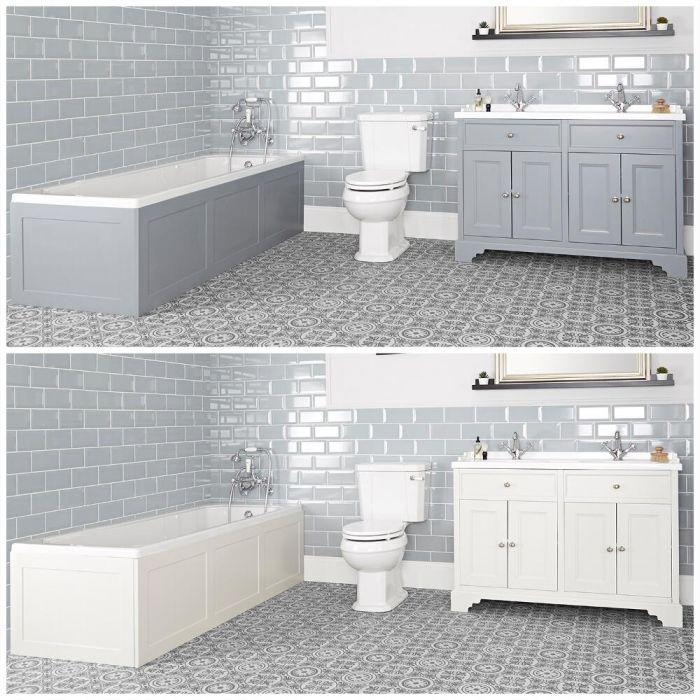 Badausstattung mit Einbau-Badewanne, Doppel-Waschtisch mit 1200mm Unterschrank und Toilette mit aufgesetztem Spülkasten - Thornton