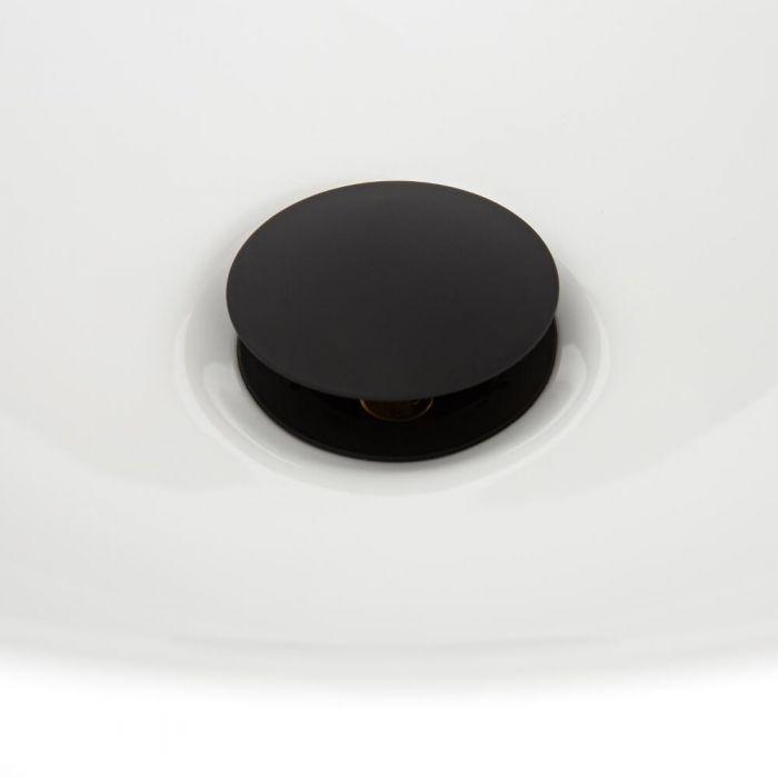 Nox - Schwarzer Ablauf mit Push-Up Stöpsel und Überlauf