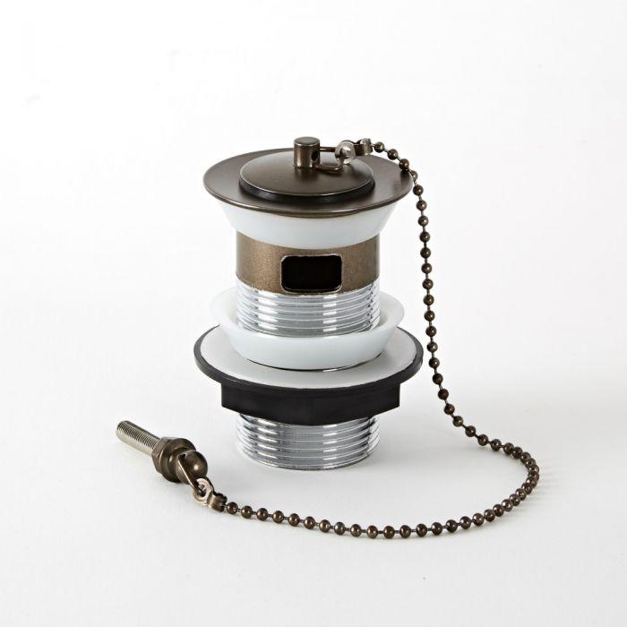 Nostalgie Ablauf mit Stöpsel (Kette) für Waschbecken mit Überlauf, geölte Bronze - Augusta