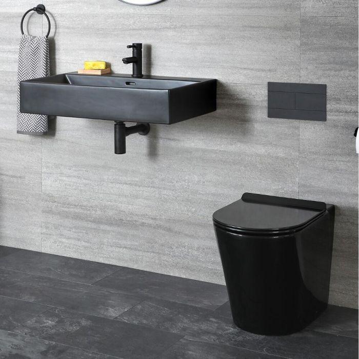 Stand Toilette und Hängewaschbecken Set, Schwarz - Nox