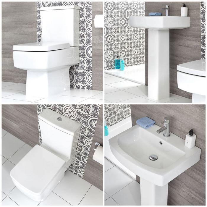 Säulenwaschbecken und WC mit aufgesetztem Spülkasten - Exton