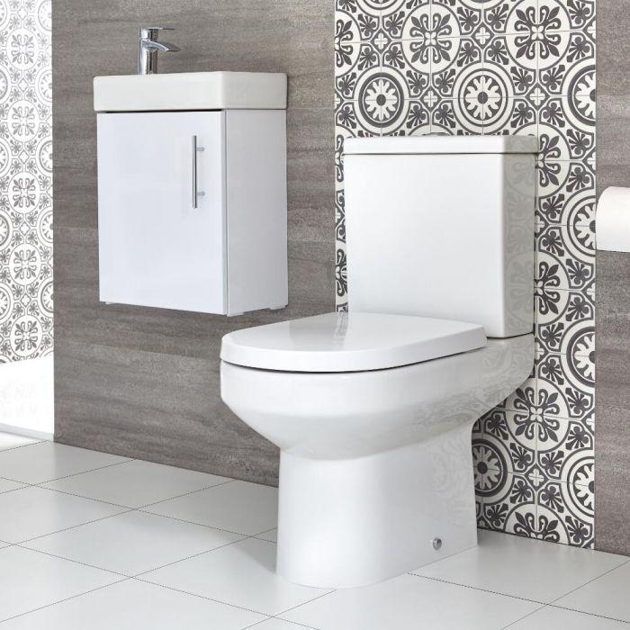 WC & Wand-Waschtisch Set, Unterschrank B 400mm Farbe wählbar