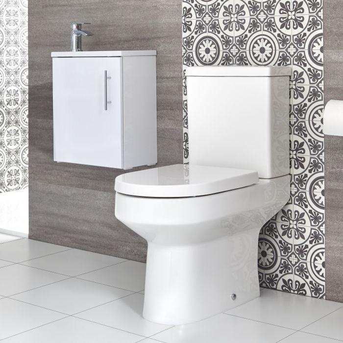 Stand WC & Hänge-Waschtisch Set, Unterschrank B 400mm Farbe wählbar