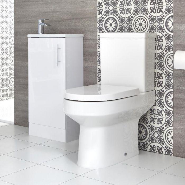 Stand-WC & Slimline Stand-Waschtisch Set, Unterschrank B 400mm Farbe wählbar