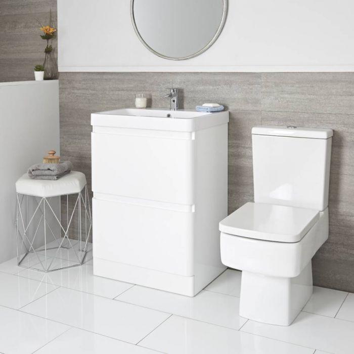 Daxon - Weißer Moderner 600mm Waschtisch mit Unterschrank und Toilette mit aufgesetztem Spülkasten im Set