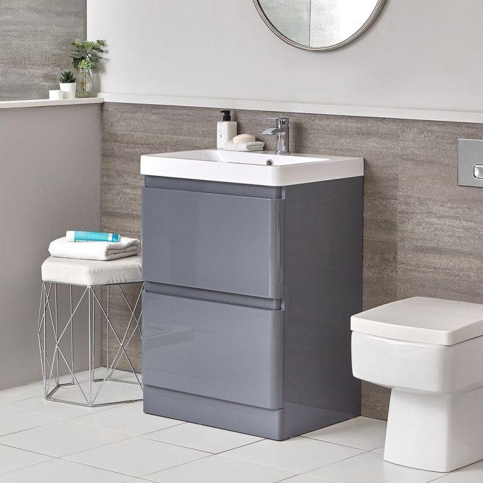 Daxon - Grauer Moderner 600mm Waschtisch mit Unterschrank und Stand-WC (ohne Spülkasten) im Set