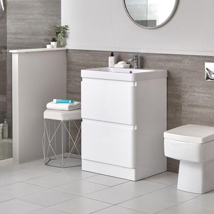 600mm Waschtisch mit Unterschrank Weiß und Stand-WC (ohne Spülkasten) im Set - Daxon