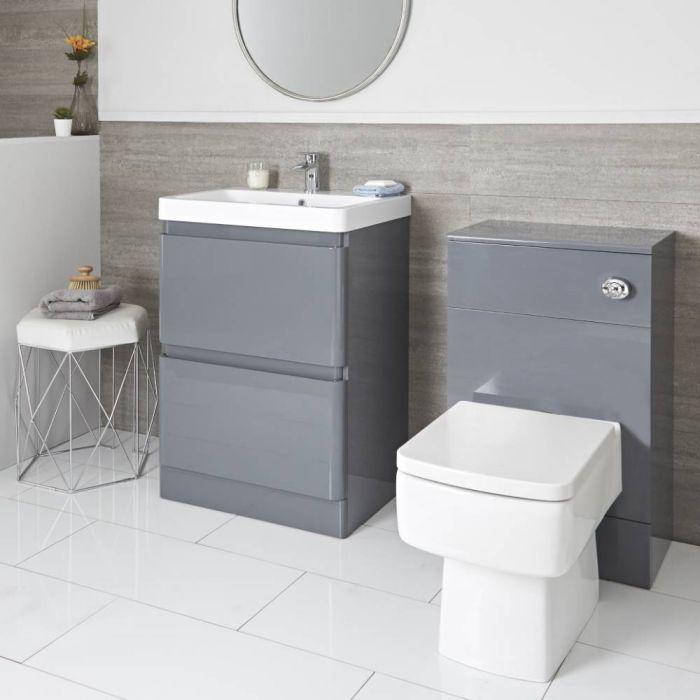 Daxon - Grauer Moderner 600mm Waschtisch mit Unterschrank und WC-Möbeleinheit inkl. Toilette mit verkleidetem Spülkasten