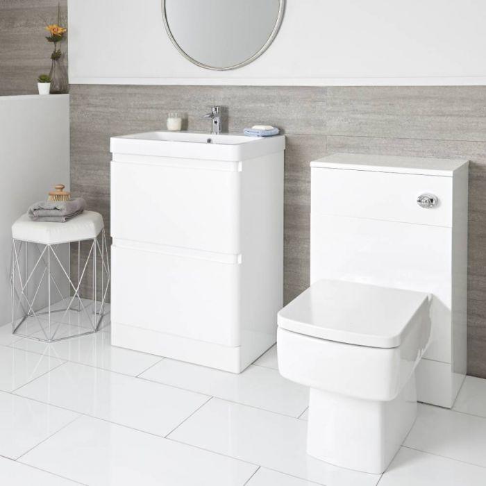 Daxon - Weißer Moderner 600mm Waschtisch mit Unterschrank und WC-Möbeleinheit inkl. Toilette mit verkleidetem Spülkasten