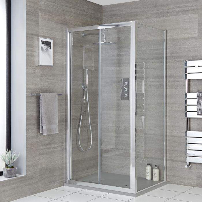 Eck-Duschkabine mit Falttür, Duschwanne im Schiefer-Effekt - Größe wählbar