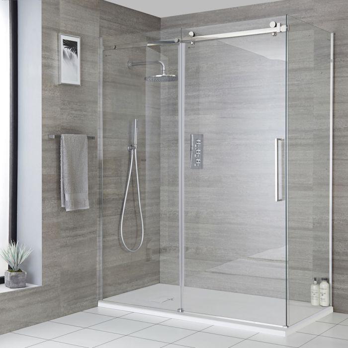 Rahmenlose Eck-Duschkabine - Schiebetür, Seitenwand & Wanne im Schiefer-Effekt, Größe wählbar - Portland