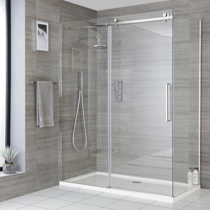 Rahmenlos, Eck-Duschkabine mit Schiebetür und Duschwanne, Größe wählbar - Portland