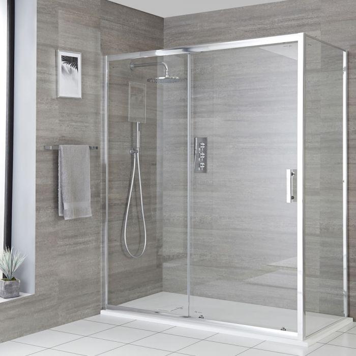 Eck-Duschkabine mit Schiebetür, Duschwanne im Schiefer-Effekt, Größe wählbar - Portland