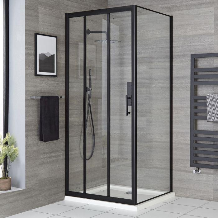 Eck-Duschkabine - Schiebetür, Seitenwand und Duschwanne, Schwarzer Rahmen, Größe wählbar - Nox