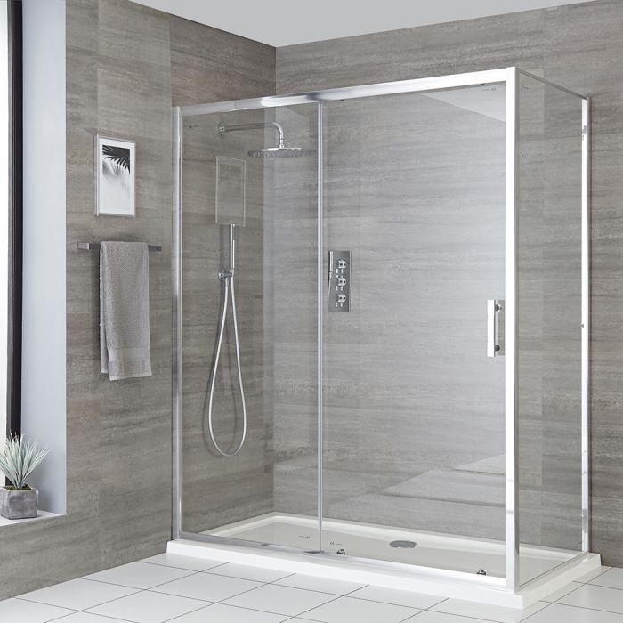 Eck-Duschkabine mit Schiebetür, Duschwanne in Weiß, Chromprofil, Größe wählbar - Portland
