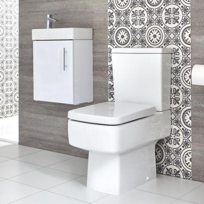 Eckiges Stand-WC und Hängewaschtisch Set, Unterschrank B 400mm Farbe wählbar