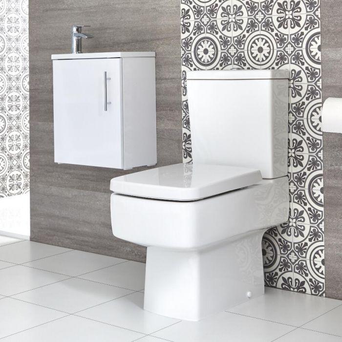 Eckiges Stand WC & Slimline Hänge-Waschtisch Set, Unterschrank B 400mm Farbe wählbar