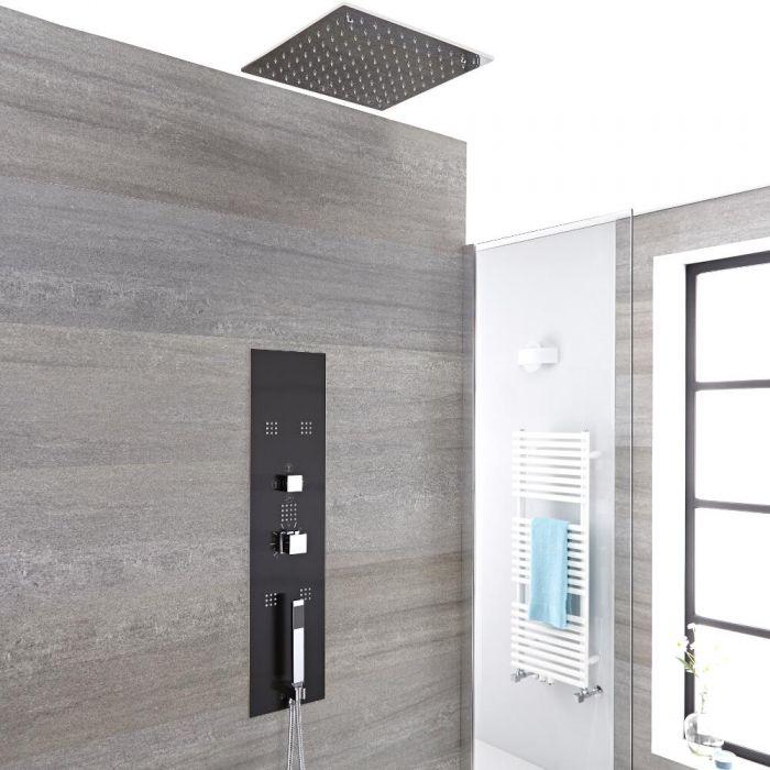 Unterputz-Duschpaneel in dunklem Grau mit 3 Funktionen & quadratischem 400mm Unterputz-Duschkopf - Llis