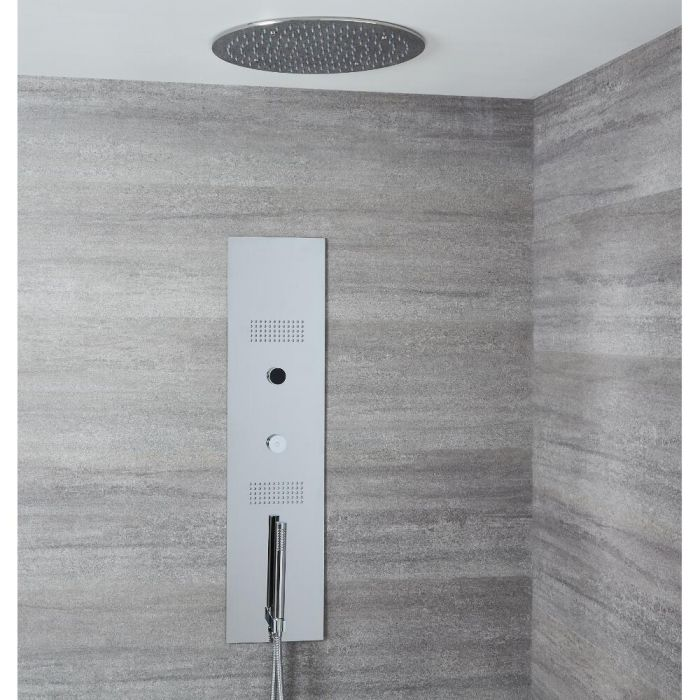 Narus Digitales Unterputz Duschpaneel mit 400mm rundem Unterputz Duschkopf, Deckenmontage