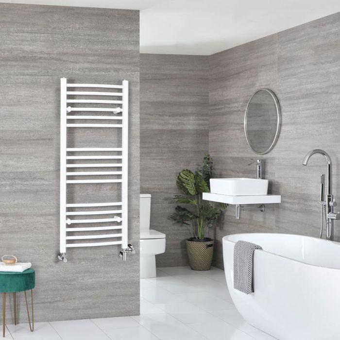 Badheizkörper Mischbetrieb Weiß Gebogen 1200mm x 500mm 594W – Ive