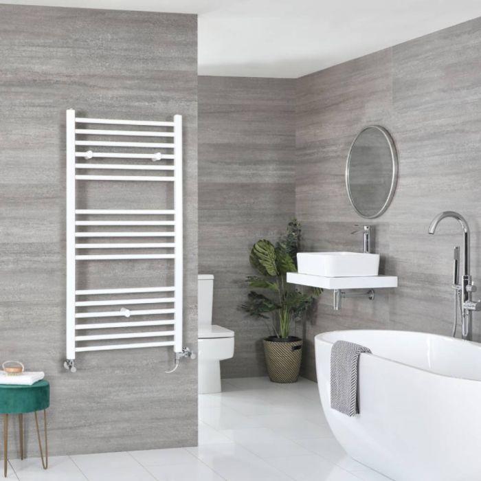 Badheizkörper Mischbetrieb Weiß Flach 1200mm x 500mm 594W – Ive