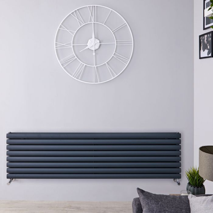 Design Heizkörper Horizontal Anthrazit 472mm x 1600mm 1610W (doppellagig) - Revive