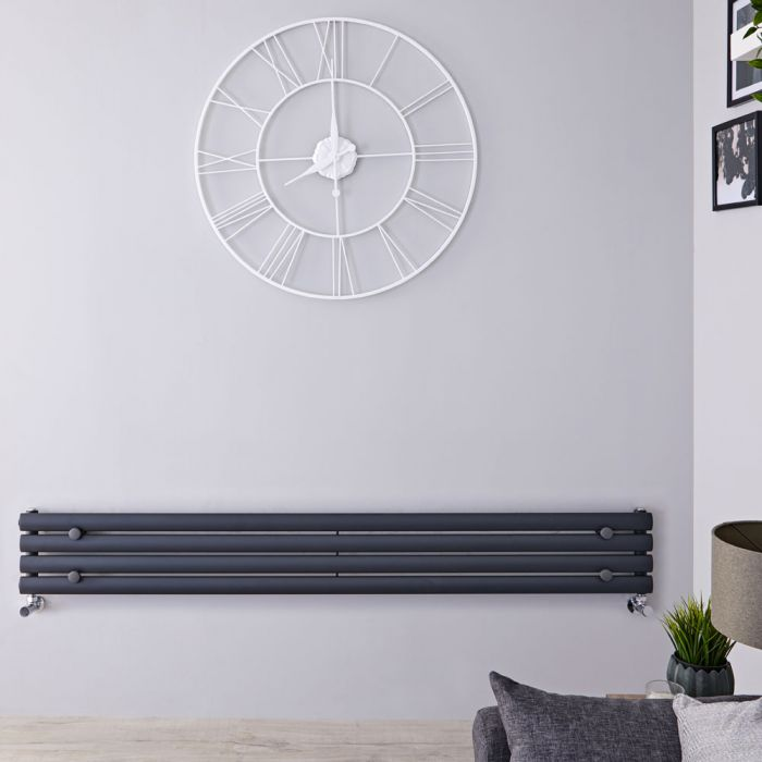 Design Heizkörper Horizontal Einlagig Anthrazit 236mm x 1600mm 518W - Revive