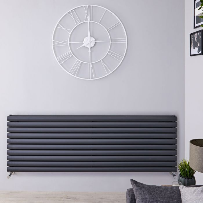 Design Heizkörper Horizontal Anthrazit 590mm x 1600mm 1881W (doppellagig) - Revive