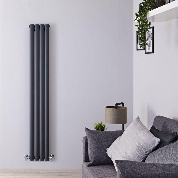 Design Heizkörper Vertikal Weiß 1600mm x 236mm 818W (doppellagig) - Revive Slim