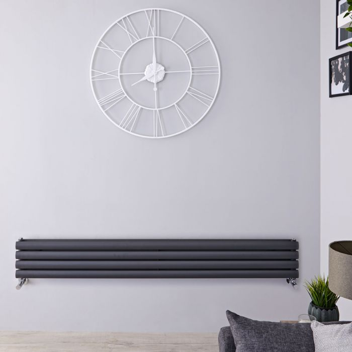 Design Heizkörper Horizontal Anthrazit 236mm x 1600mm 814W (doppellagig) - Revive Slim