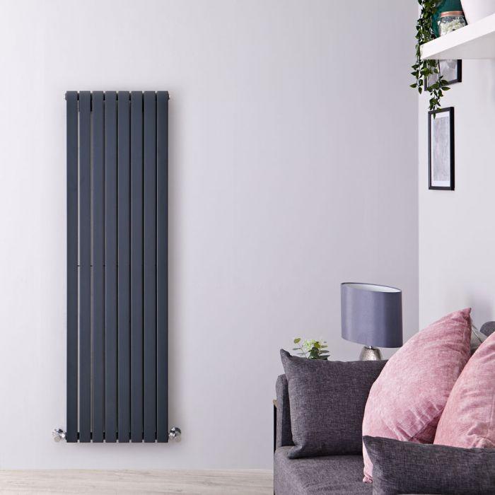 Design Heizkörper Vertikal Anthrazit 1600mm x 472mm 1590W (doppellagig) - Sloane